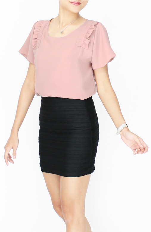 Nude Pink Sweet Ruffle Panel Blouse with Flare Sleeves