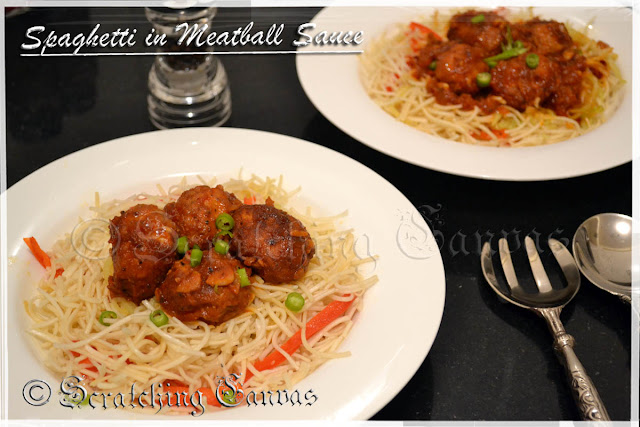 Italian Meatball in Tomato Gravy with Spaghetti