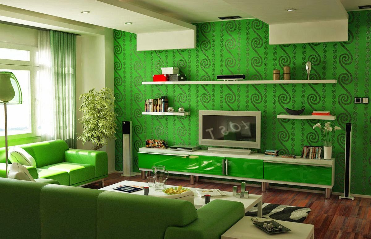 Зал в зеленом цвете дизайн
