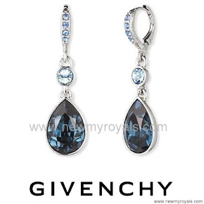 Queen Letizia Style GIVENCHY Multi Blue Teardrop Earrings
