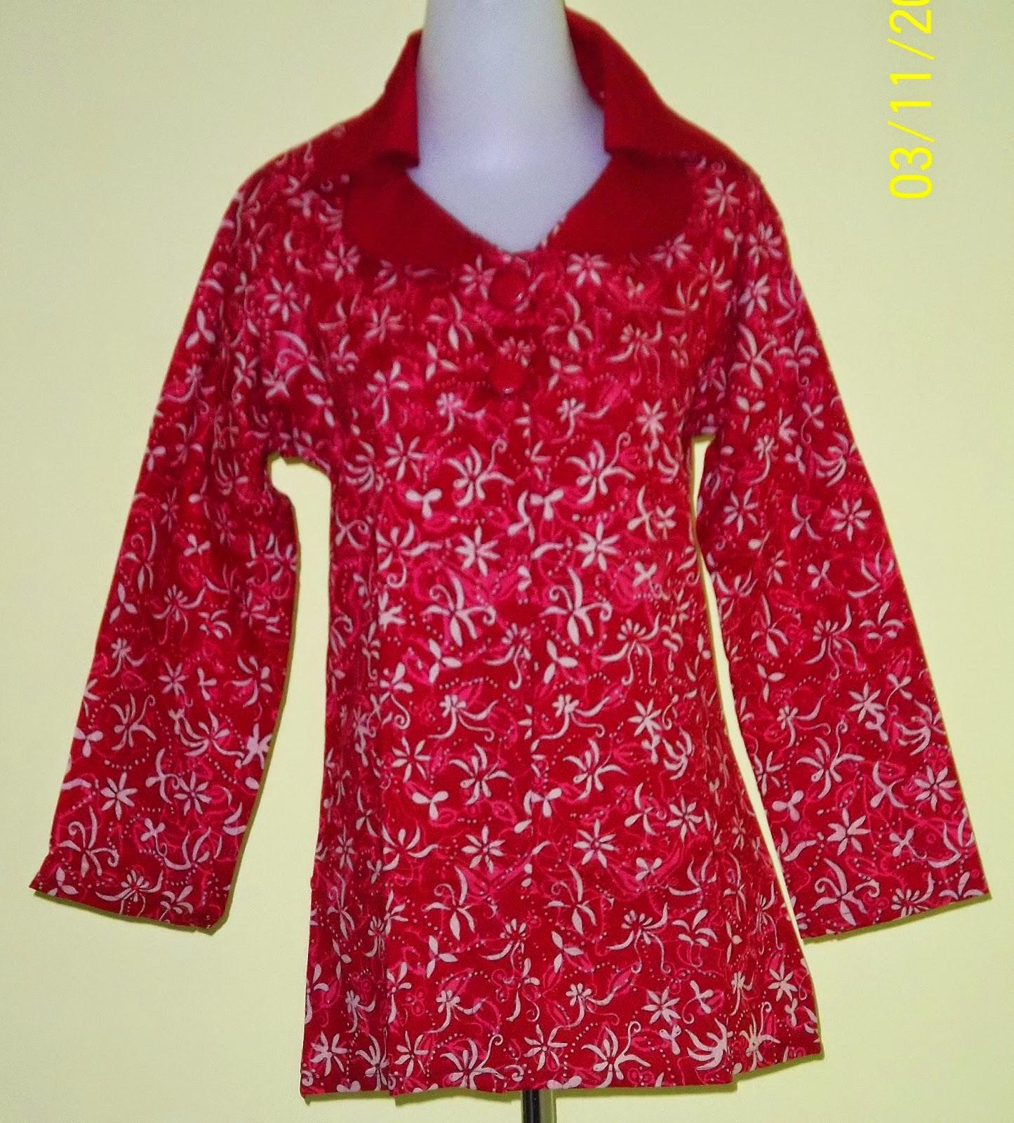 Model Batik Atasan Wanita Muslimah Kerja Merah Bunga