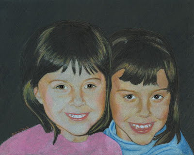 Sisters portrait complete. Drawing by by © Ana Tirolese