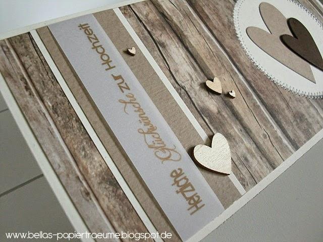 Diesmal in Holzoptik mit kleinen Holzherzchen aus der Papierwerkstatt!