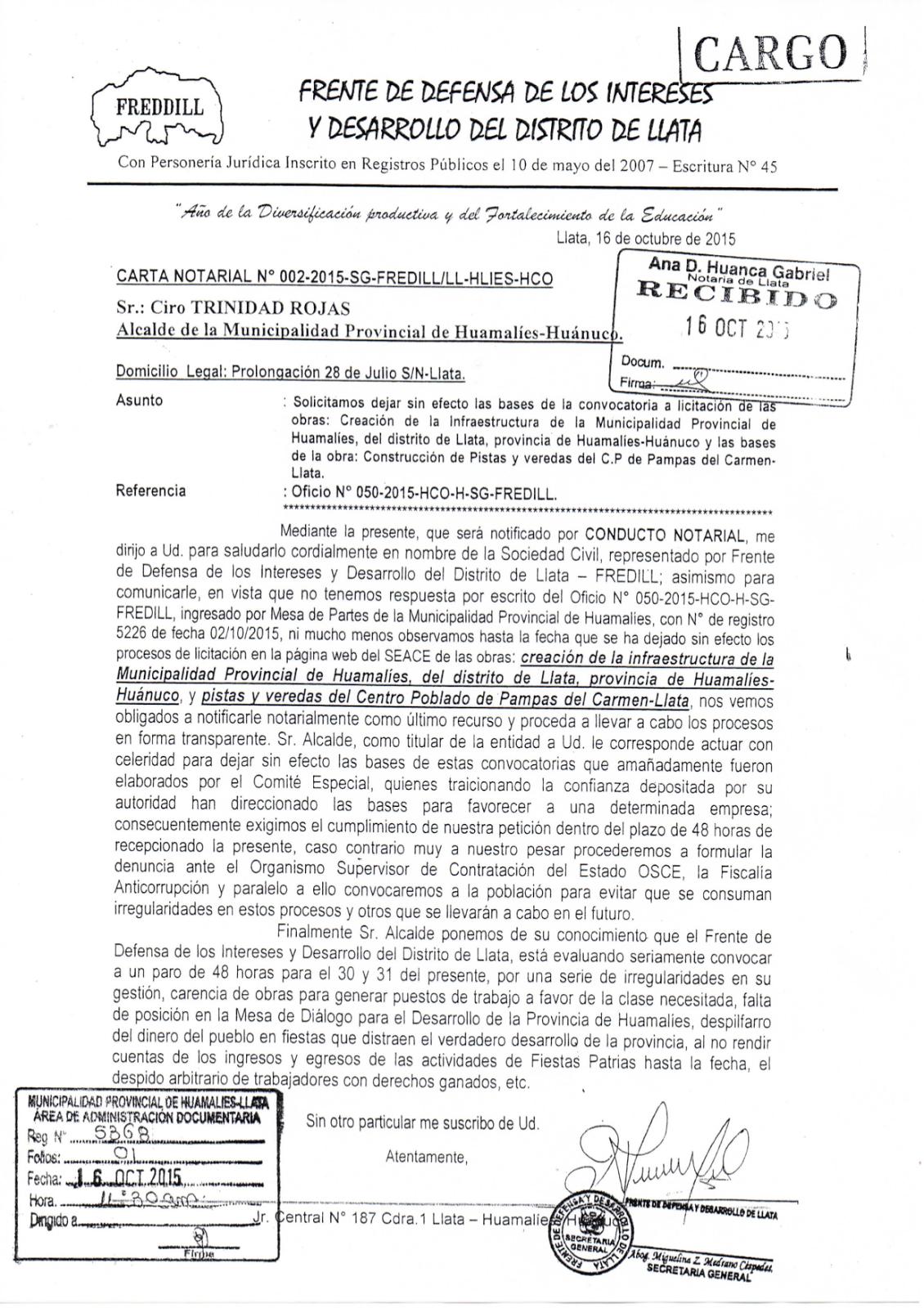 Huamalíes en la Noticia: CARTA NOTARIAL DEL FREDILL A LA ...