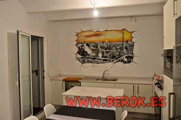 Mural pintado a mano de Barcelona ciudad