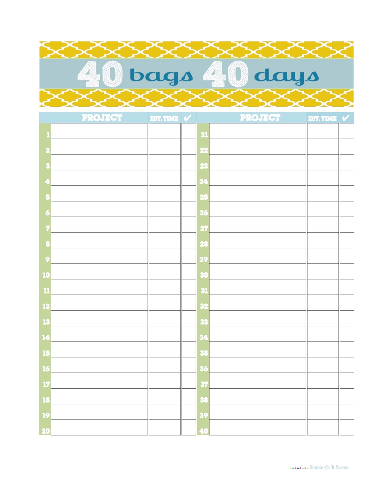 This is an image of Juicy 40 Bags in 40 Days Printable