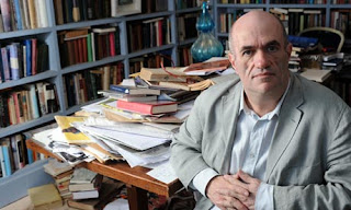 Author Colm Toibin at home in his Dublin study