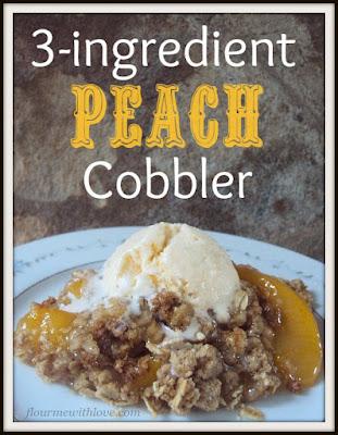 3-ingredients, peaches, cobbler, dessert