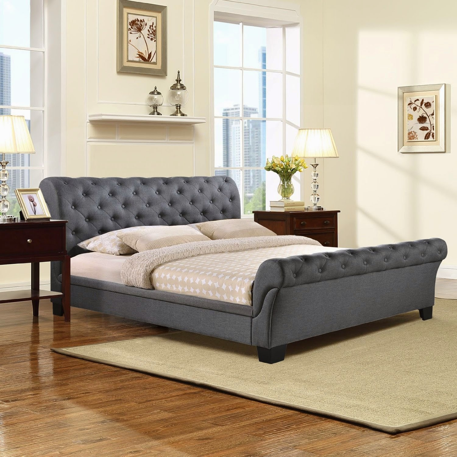 queen bed frame in gray get the product reviews from the experts at this blog find the best product like kate queen fabric bed frame in