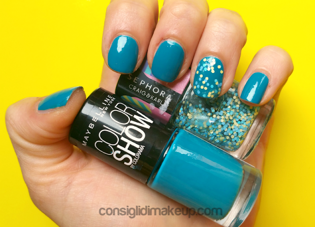 NOTD: Color Show Maybelline in 654 Superpower Blue e Topcoat Craig&Karl Sephora