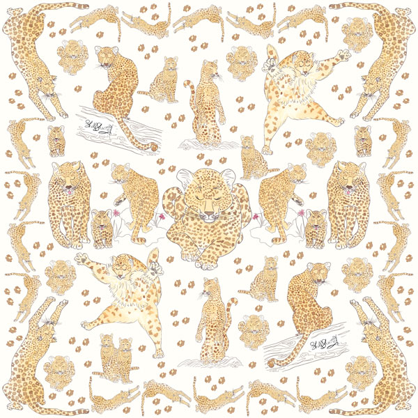 ILLUSTRATED LEOPARD SILK SCARF