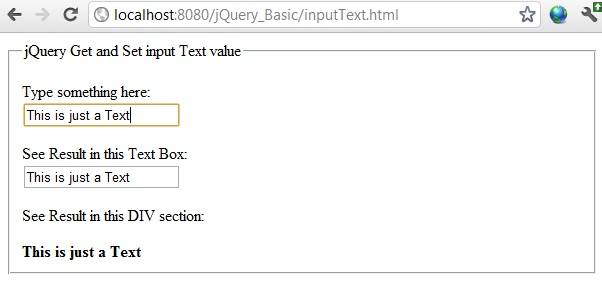 input value jquery set