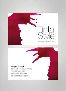 Tarjetas de presentacion informales CMYK Tinta Style imagen de marca tienda ropa mujer camisetas y moda