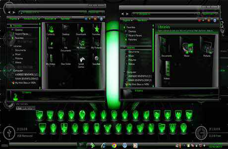 tema hijau transfaran windows 7