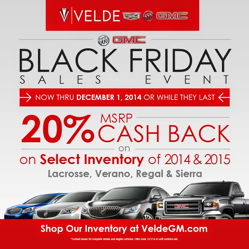 Black Friday Deals at Velde Cadillac Buick GMC!