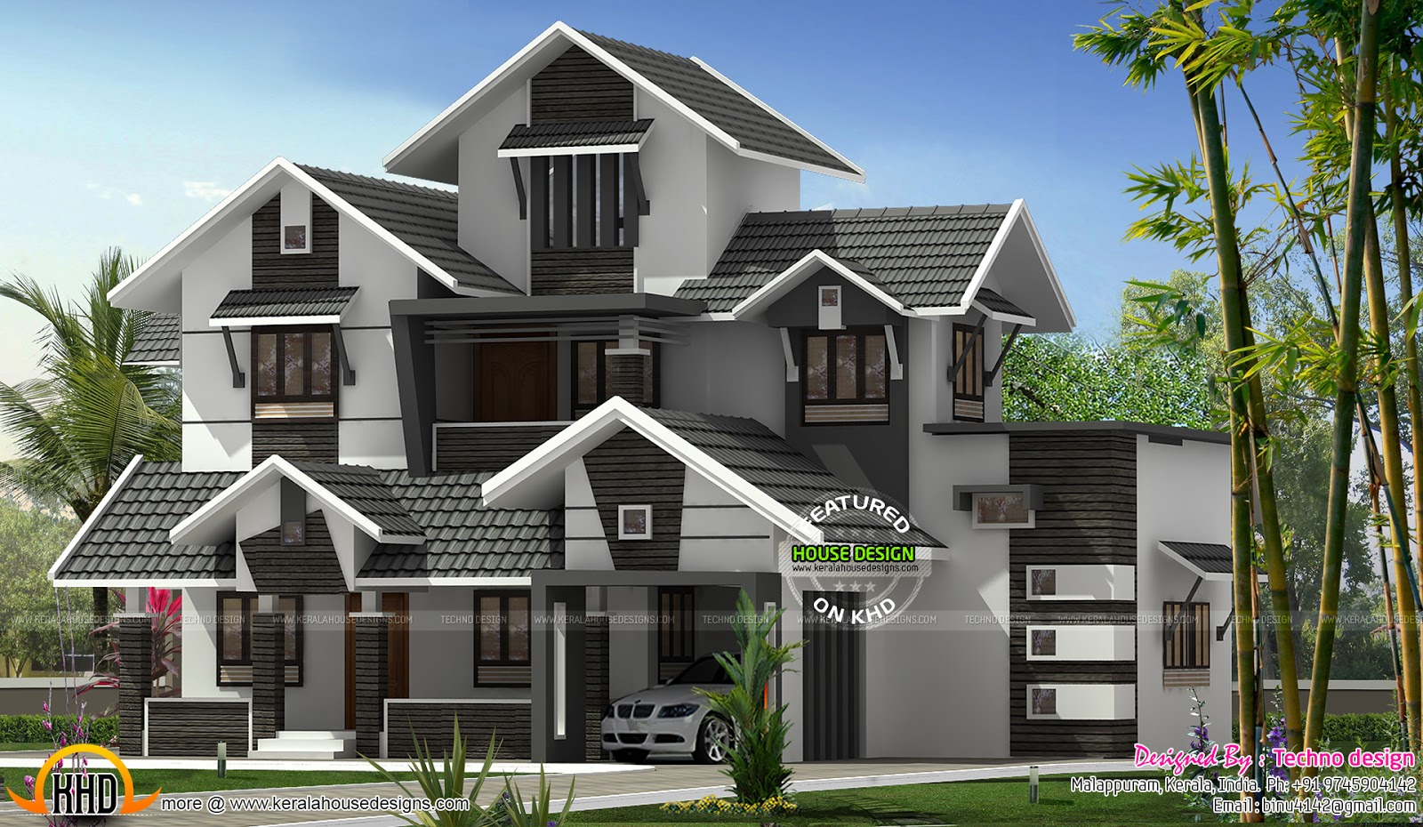 Modern kerala home design kerala home design and floor plans for Kerala home designs contemporary