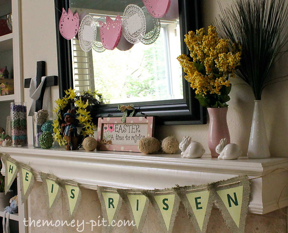 Easter Mantle Reveal He is Risen The Kim Six Fix – Easter Mantel Decorations