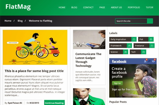 Flat Mag Responsive Blogger Template