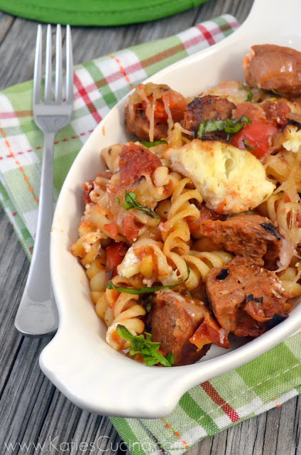 Fire Roasted Tomato and Spicy Sausage Pasta from Katie's Cucina