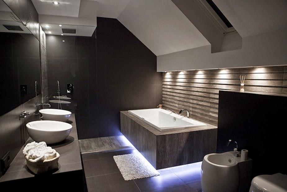 Baño oscuro minimalista y moderno