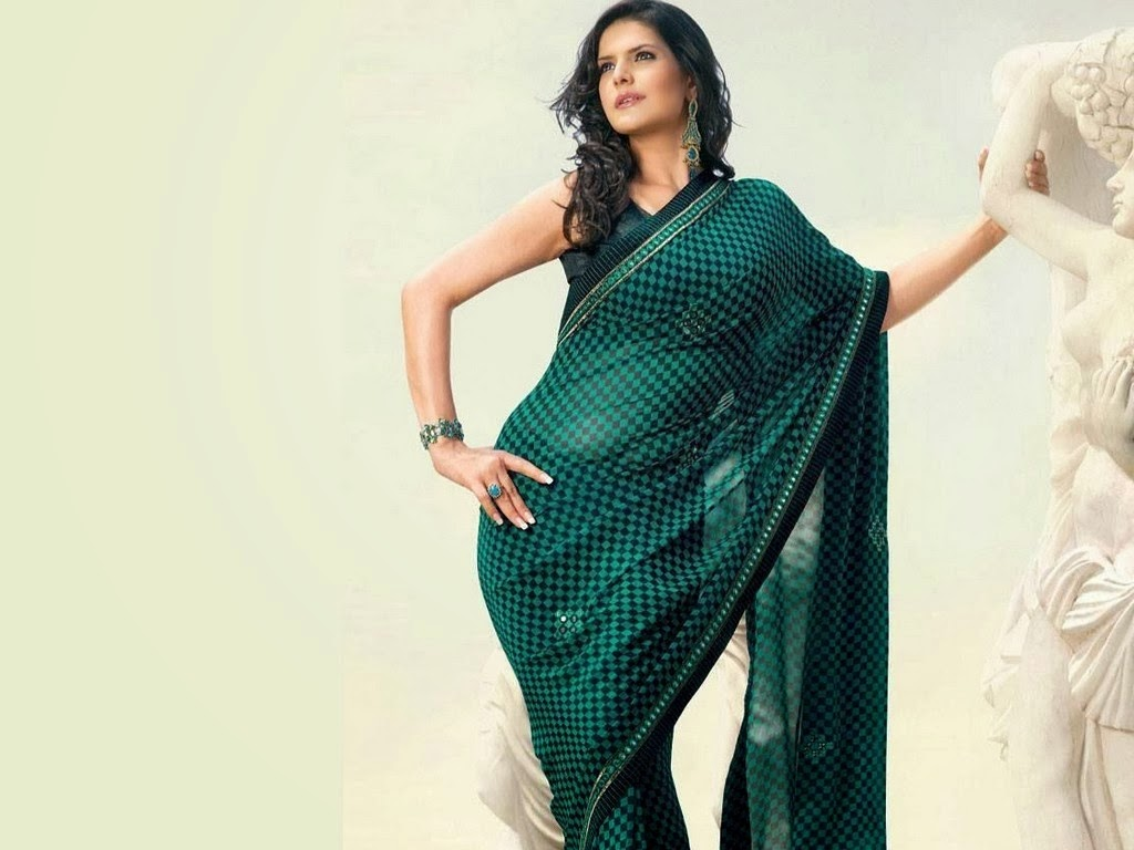 zarin khan hot in green saree hd wallpaper