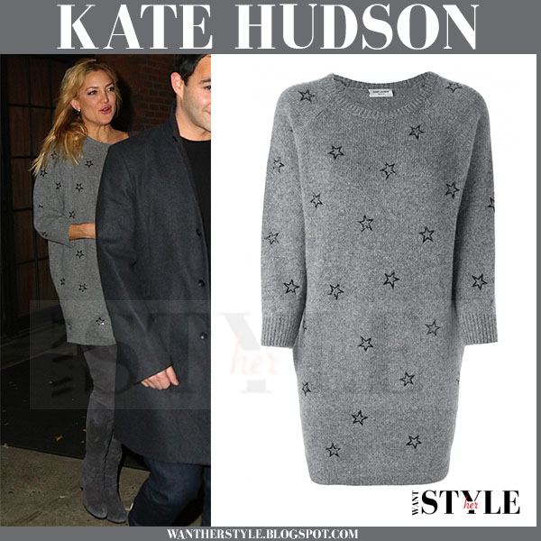 Kate Hudson in grey star print saint laurent sweater dress and grey boots what she wore winter outfit