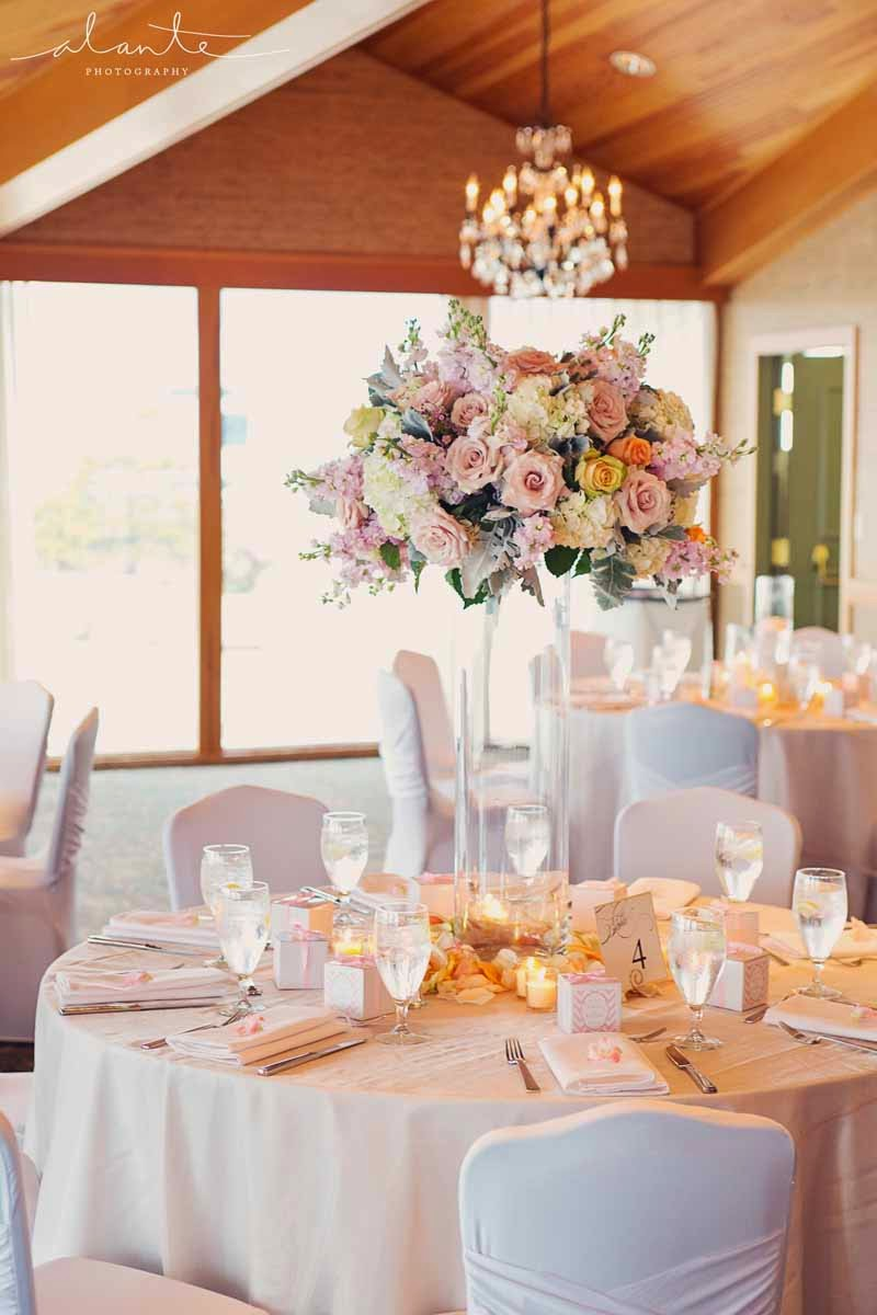 blush flower centerpiece for wedding reception