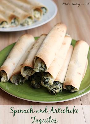 http://whatscookinglove.com/2014/05/spinach-artichoke-taquitos/