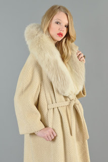 Vintage 1960's ivory colored wool coat with fox fur collar