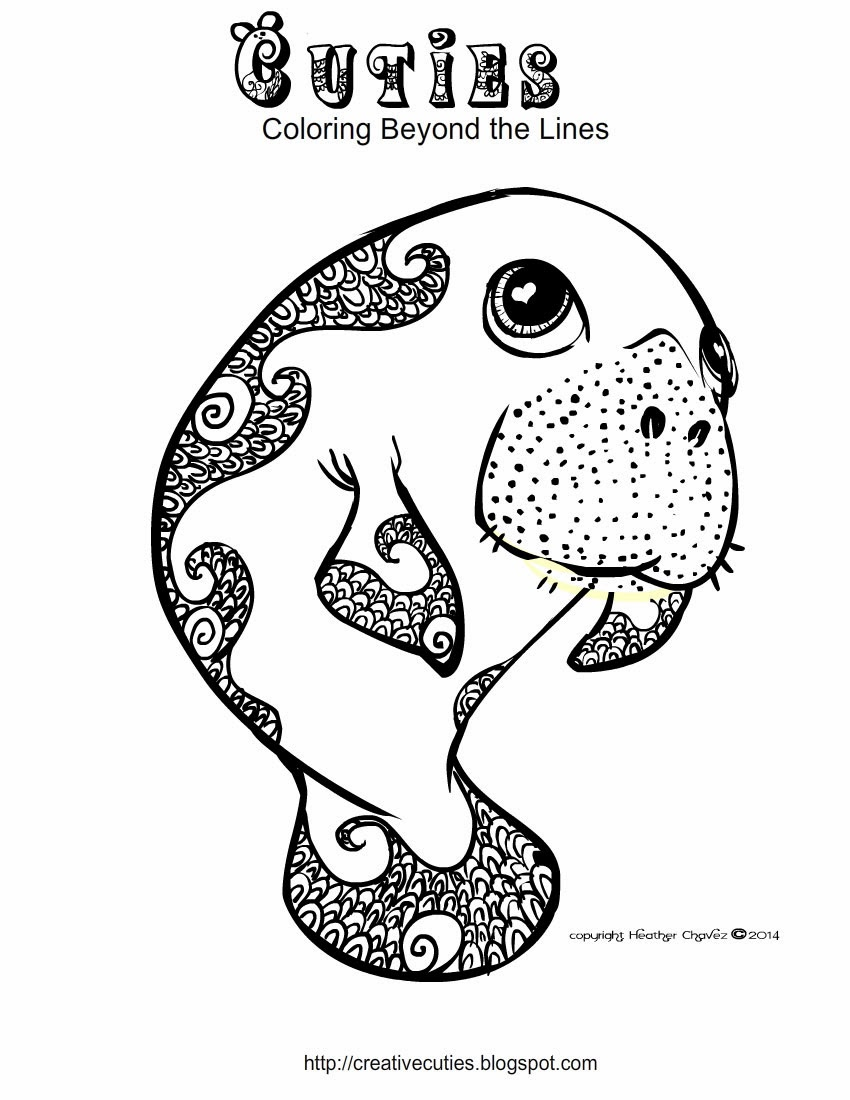 Creative cuties manatee coloring page for Manatee coloring pages