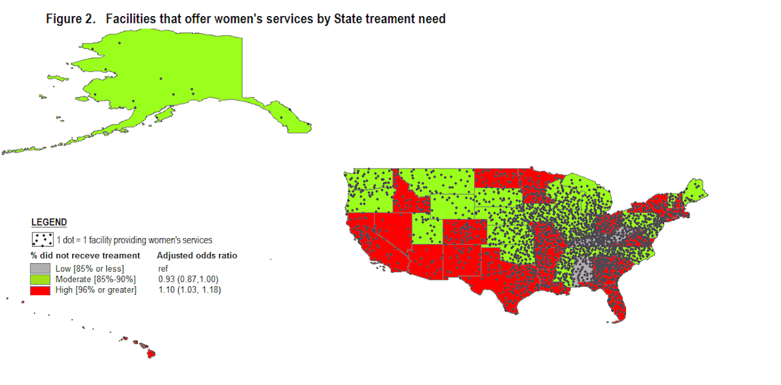 treatment facilities and percentage of women not receiving treatment national survey of substance abuse treatment services 2002 2009 united states