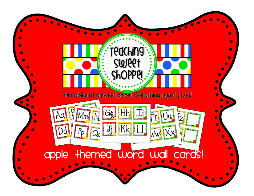 picture about Printable Word Wall Cards With Pictures titled The Training Adorable Shoppe Apple Themes Phrase Wall Playing cards - Www