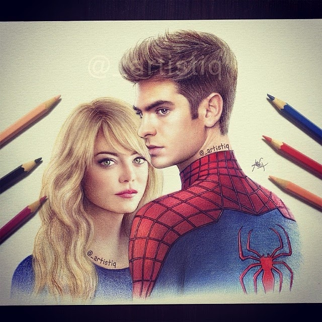 20-The-Amazing-Spider-Man-Cas-_artistiq-Colored-Celebrity-and-Cartoon-Drawings-www-designstack-co