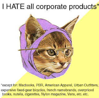 hipster cat hate corporate products