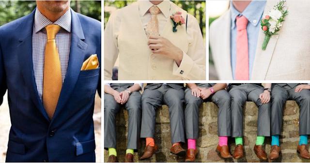 цветни костюми на младоженци