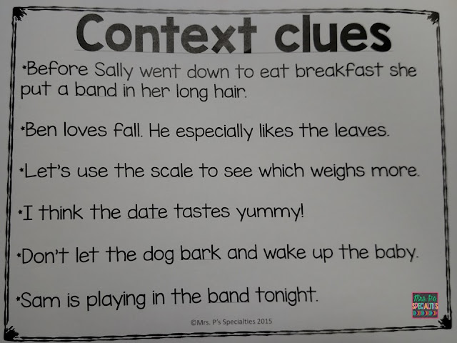 context clues-multiple meaning-comprehension