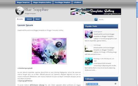 BlueSapphire Blogger Theme