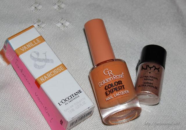 parfum L'occitane Vanille & narcisse , oja Golden Rose, pigment Nyx