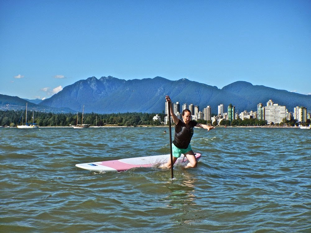 Falling off my paddleboard in Vancouver's English Bay