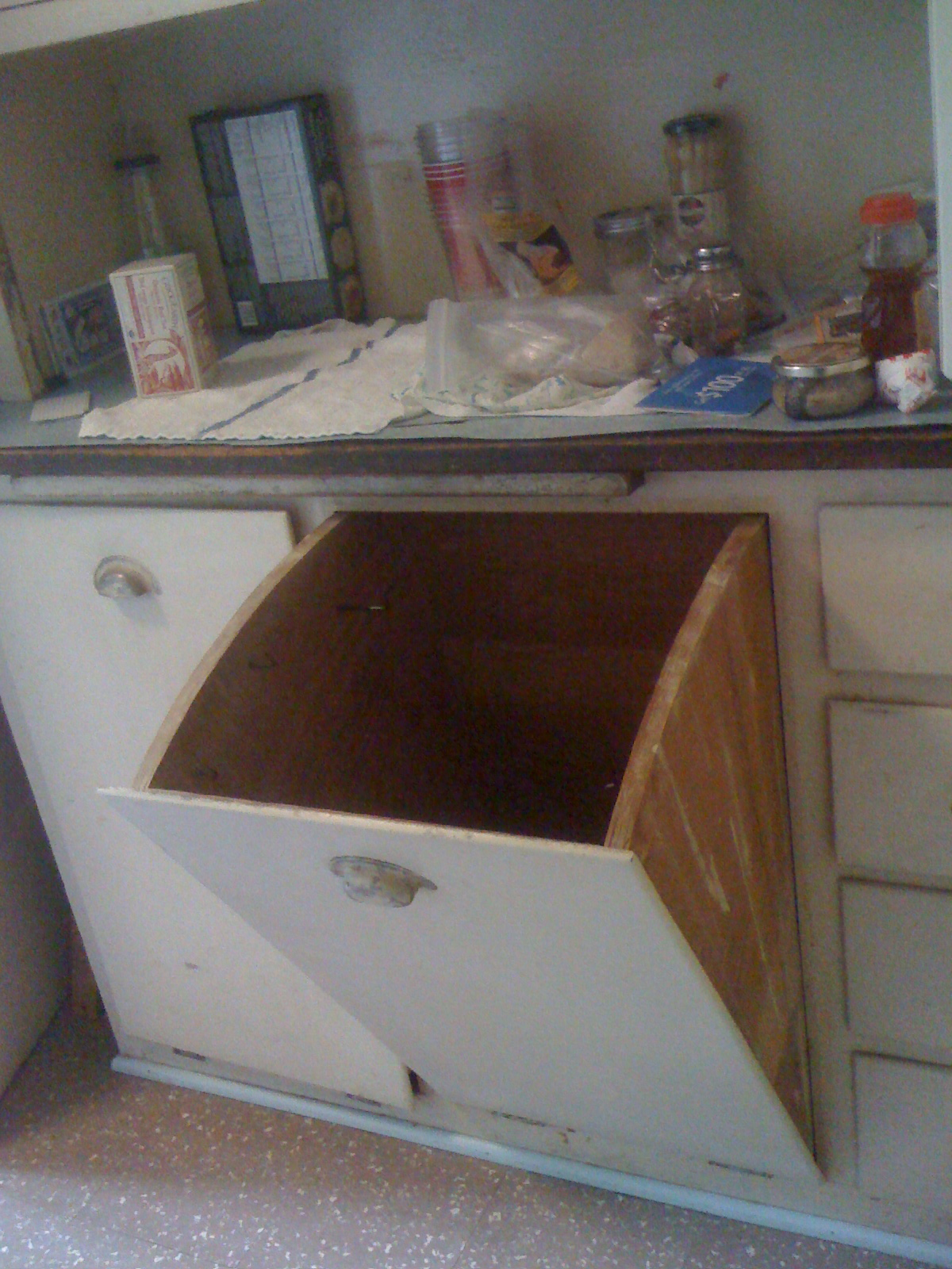 Lower Drawers and Bins: Below the upper cabinet was a countertop covered in  blue linoleum - Antique Kitchen Cupboard With Flour Bin Antique Furniture