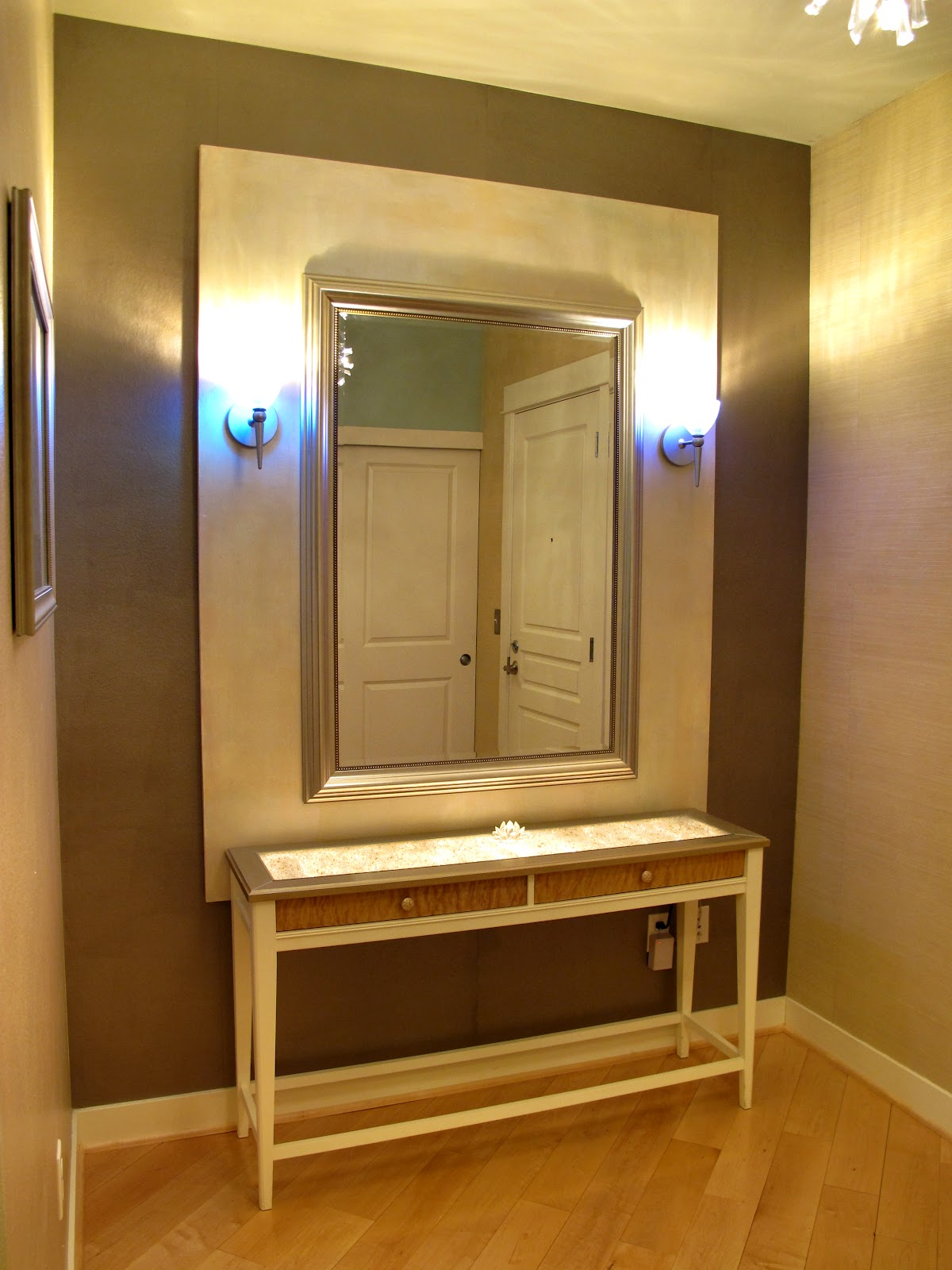 about design my entrance hall with an underlit painted ikea table