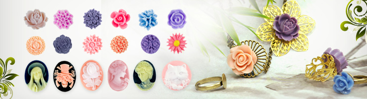 Resin flower cabochons