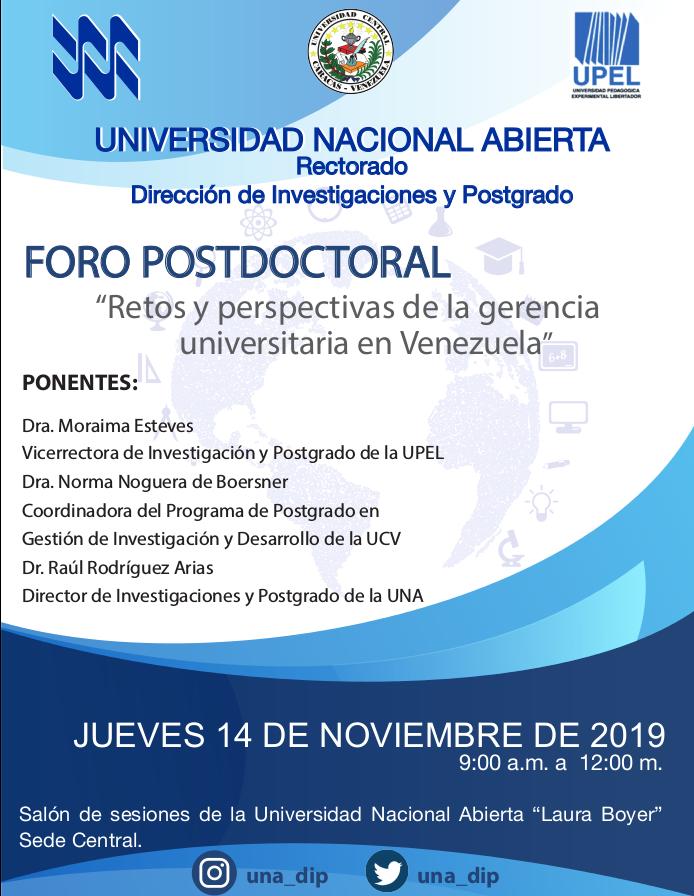 """Foro Postdoctoral """"Retos y prespectivas de la gerencia universitaria en Venezuela"""""""