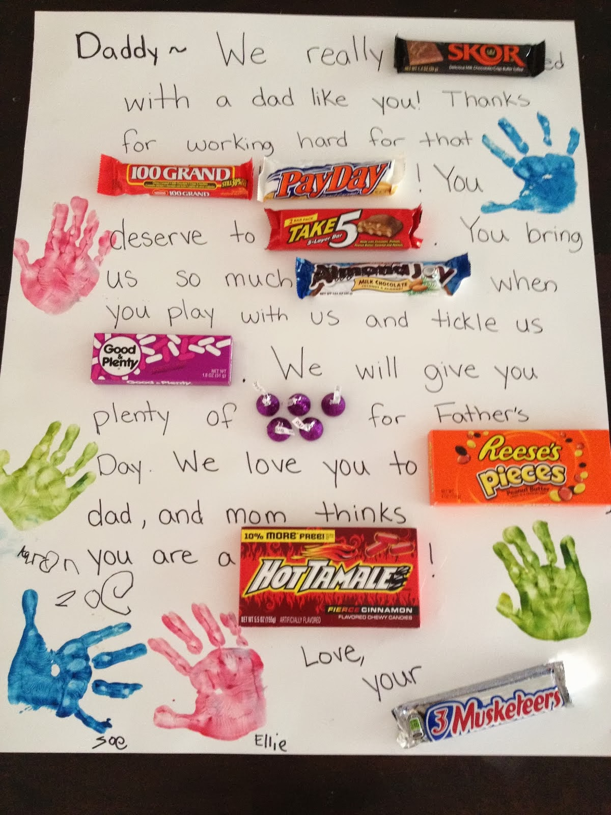 mothering with creativity candy letter fathers day gift