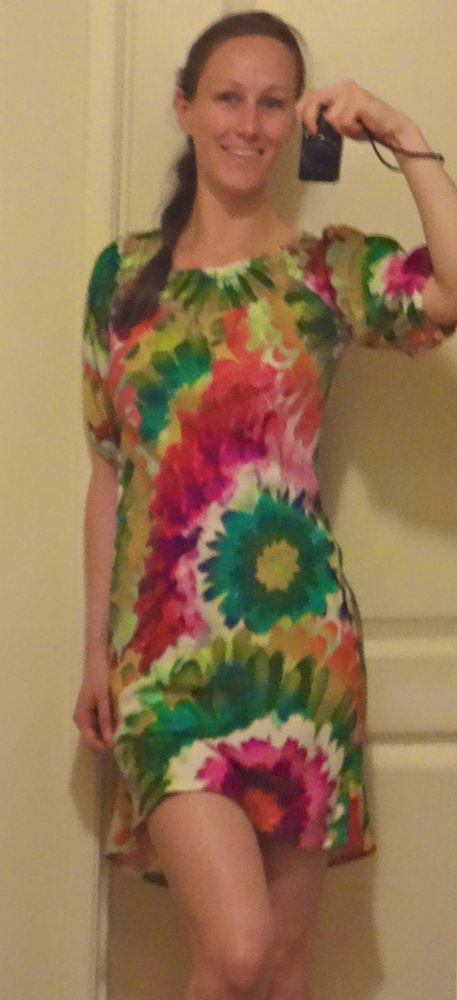 Floral tie-dye colorful dress, multi-colored
