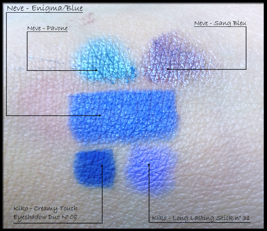 Confronto di Neve Cosmetics Enigma-Blue con: Neve Cosmetics Pavone; Neve Cosmetics Sang Bleu; Kiko Creamy Touch Eyeshadow duo n° 08; Kiko Long Lasting Stick n° 31.