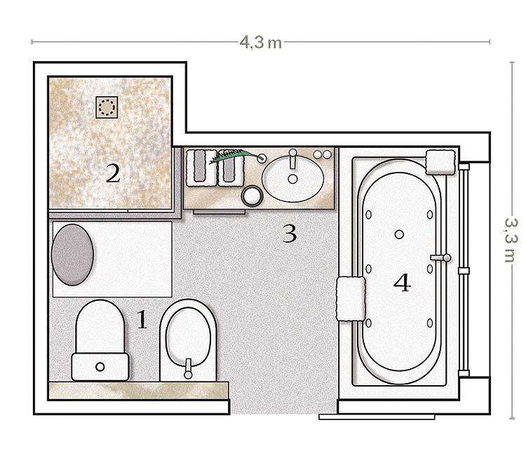 Baño Vestidor Minimalista:plano y distribución del cuarto de baño un baño distribuido en 4