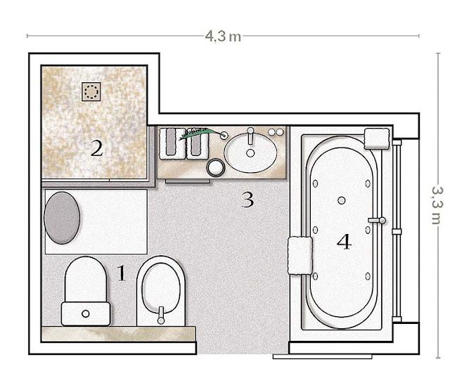 Accesorios Baño Minimalista:plano y distribución del cuarto de baño un baño distribuido en 4