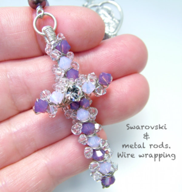 E. Swarovski and wire wrapped cross