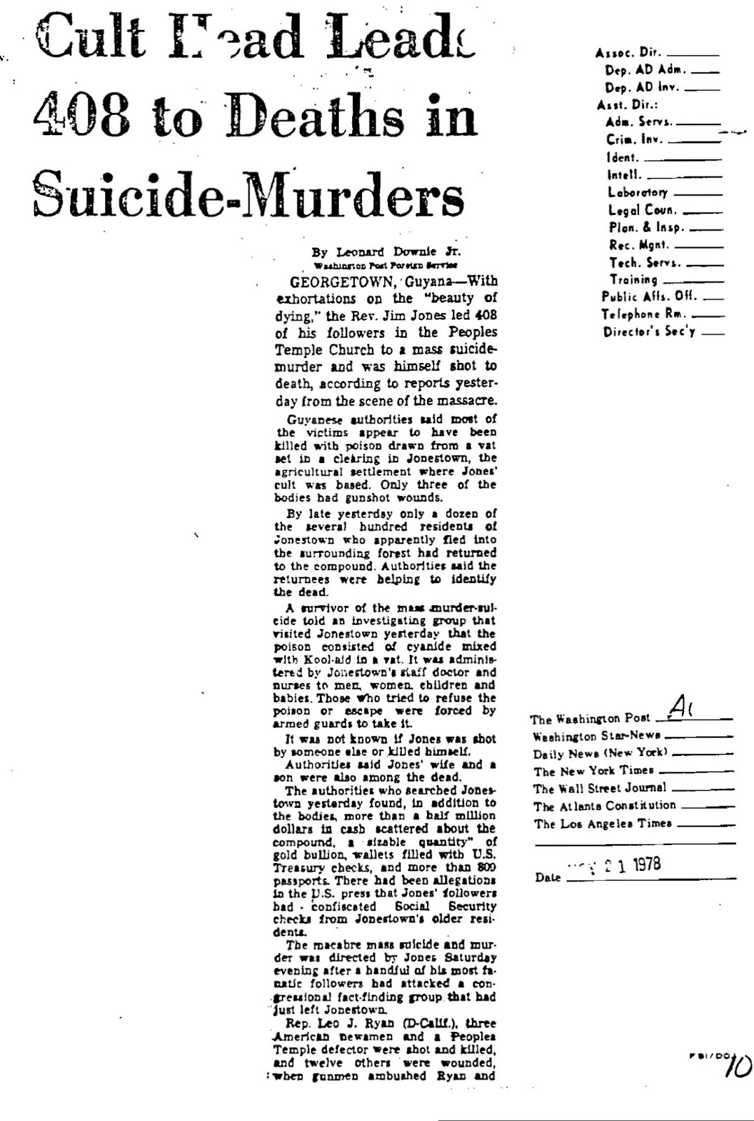 """a sociological perspective of the reverend jim jones instigated mass suicides On november 18, 1978, in what became known as the """"jonestown massacre,"""" more than 900 members of an american cult called the peoples temple died in a mass suicide-murder under the direction of their leader jim jones (1931-78)."""